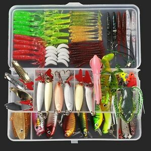 103PCS Fishing Kit Lure Set Tackle Lures Bass Box Baits Soft Trout Bait Hooks