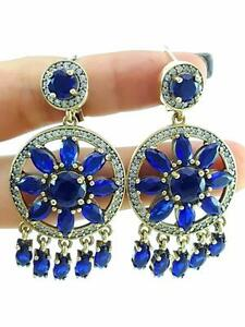 TURKISH 925 STERLING SILVER SAPPHIRE EARRINGS HANDMADE VICTORIAN JEWELRY R2525