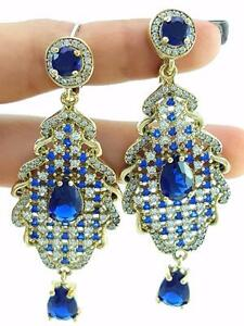 TURKISH 925 STERLING SILVER SAPPHIRE EARRINGS HANDMADE VICTORIAN JEWELRY R2527