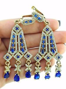 TURKISH 925 STERLING SILVER SAPPHIRE EARRINGS HANDMADE VICTORIAN JEWELRY R2528