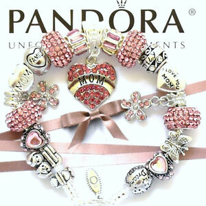 Authentic Pandora Bracelet Silver MOM Love Heart Pink European Charms New