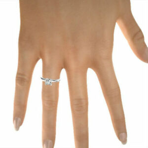 3.1 CT DIAMOND PRINCESS CUT RING SI2 14 KT WHITE GOLD SOLITAIRE 4 PRONGS WOMEN