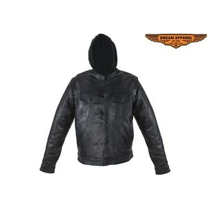 Men Motorcyle Black Genuine Leather Jacket with Removable Sleeves And Hoodie
