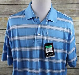 NWT Nike Fit Dry Tiger Woods TW Open Stripe Golf Polo Shirt MENS XL Blue