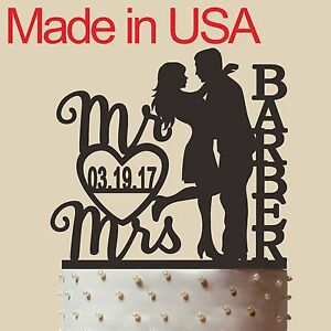 Personalized Bride and Groom Cake Topper, Acrylic,Wedding Gift,Made in USA 5''