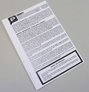 PACIFIC'S DURACHROME DIES RELOADING USER MANUAL INSTRUCTIONS OPERATORS OWNERS