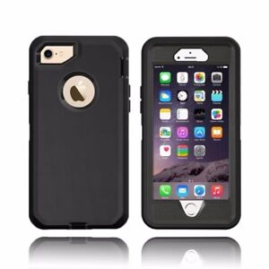 For iPhone Defender BLACK Case Cover  w Screen Protector [Clip Fits Otterbox]