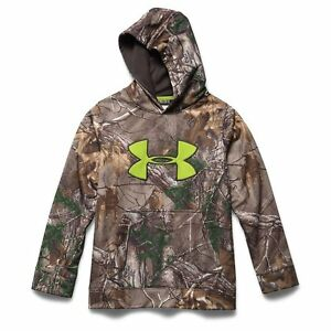 Under Armour Boys Fleece Scent Control Hoodie Size Youth M RealTree XtraNEW