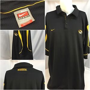 Mizzou Tigers Nike Polo Shirt 3XL Black Fit Dry Team EUC Missouri YGI Y1738