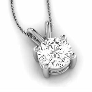 WEDDING VS1 4 PRONG 2 CT ROUND NECKLACE 18 KARAT WHITE GOLD FLAWLESS EARTH MINED