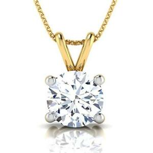 PENDANT 4 PRONG NECKLACE ROUND 2 CARATS FLAWLESS VS1 SOLITAIRE 18 KT YELLOW GOLD