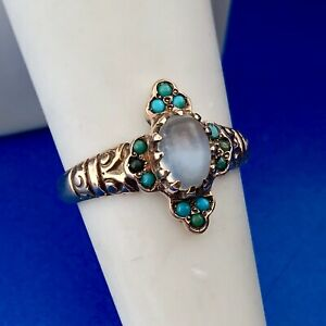 Vintage 10k Yellow Gold Oval Moonstone Ring with Turquoise Accents Size 7