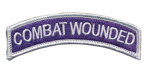 Purple Heart Embroidered TAB - Combat Wounded - Military Merit - US Army- USMC