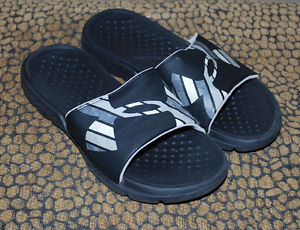 Under Armour Slides Boys Shoes Size 1 Youth 1Y Sports Sandals Black Gray Logo