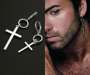 George Michael Cross Earring Sterling Silver Unisex earring Hoop ONE PIECE