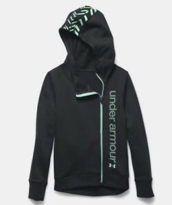 Under Armour NWT Girls Youth Small Surge Hoodie Full Zip Black Mint Green Cotton
