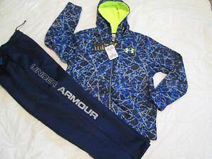 NEW Boys UNDER ARMOUR 2Pc Outfit BlueGray Hoodie+Pants COLDGEAR YLG FREE SHIP!