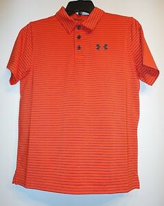 NWT!! Boy's Collared Under Armour Golf Style Shirt- Sz YLG OrangeGray Stripe