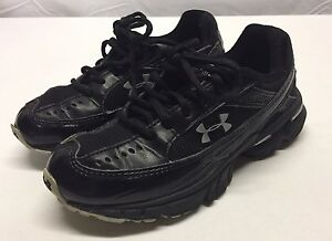 Under Armour YOUTH Boys Girls Black LACE-UP SHOES SIZE 1 Casual Athletic