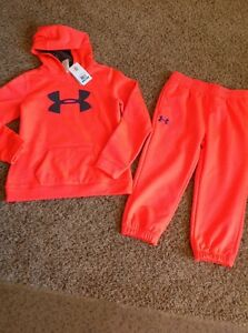 Girl's UNDER ARMOUR Coldgear STORM Pullover Hoodie Pants Set Youth Large Coral