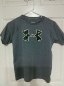 UNDER ARMOUR sport shirt  top boys Youth md gray dry fit fabric
