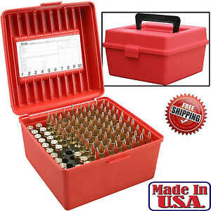 MTM 100 Ammo Case Box Round Deluxe Handled Flip-Top Rifle Case 22-250 To 58 Win