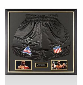 Framed Mike Tyson Signed Boxing Shorts Autograph