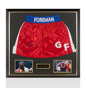 Framed George Foreman Signed Boxing Shorts Autograph
