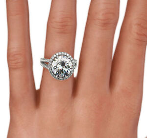 APPRAISED SIDE STONES WOMENS DIAMOND HALO RING 6 PRONG 3.75 CT 14K WHITE GOLD