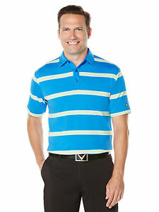 NEW Callaway Golf Rugby Striped Polo Magnetic BlueJade Lime Medium Golf Shirt