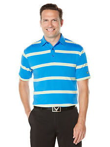NEW Callaway Golf Rugby Striped Polo Magnetic BlueJade Lime Large Golf Shirt