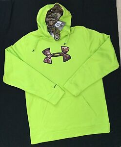 NWT $69 Tags UNDER ARMOUR Storm Hoodie Men XLT XL Tall Shirt Camo Neon Green NEW