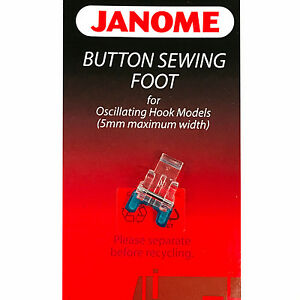 Janome Button Sewing Foot #200131007 For Oscillating Hook Models 5mm Max Width $18.99