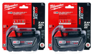 Milwaukee 2 Pack M18 RED LITHIUM ION XC 18 VOLT 5.0 Ah  Capacity 48-11-1850