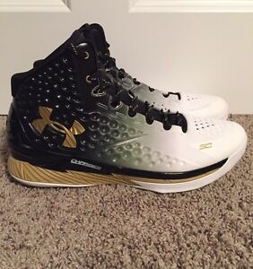 UNDER ARMOUR CURRY ONE 1 MVP SIZE 13 White Gold Black Shoes *Worn Once*