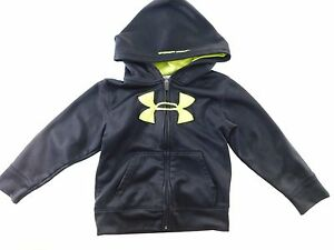 Under Armour UA Boys Youth Hoodie Size 4T Black Full Zip Tapered Pockets Fitness