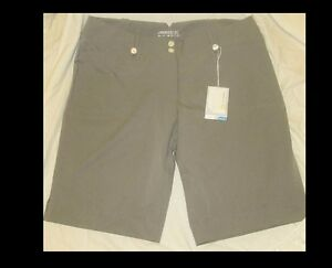 Womens NIKE Golf Shorts Striped GrayGrays Size 14 NEW wTags Dri Fit