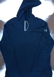 Under Armour Mens Blue Waffle Hoodie Pullover Size XL