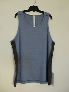 NWT LULULEMON HDCTHBLK Blue Black Sleeveless T.H.E. Tank Top Shirt Men's XL