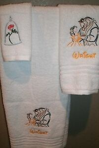 Beauty & Beast Dancing Sketch Personalized 3 Piece Bath Towel Set