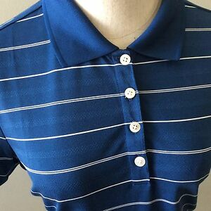 Nike Dri Fit Women Golf Polo Shirt Blue with White Stripe M Medium Short Sleeve