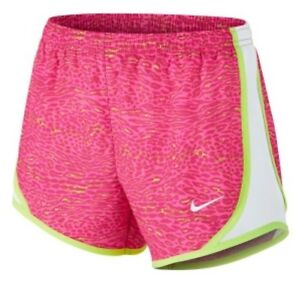 Nike Tempo Dri-Fit Girl's Running Gym shorts NWT S Pink Pow Ghost Green Printed
