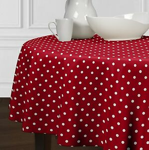 New Red White Modern Polka Dot Dining Room Round Kitchen Tablecloths 60quot; 72quot; 90quot; $37.99