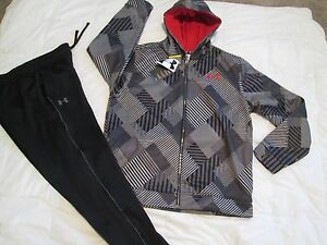 NEW Boys UNDER ARMOUR 2Pc Outfit BlkGray Hoodie+Pants COLDGEAR YXL FREE SHIP!!!