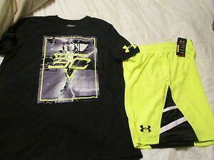 NEW Mens UNDER ARMOUR 2Pc  OUTFIT Blk Glow CURRY+Ylw Basketball shorts FREE SHIP