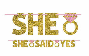 Glitter Gold quot;She Said Yesquot; Letter Banner Wedding Anniversary Party Decoration