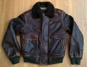 ABERCROMBIE FITCH ELK LAKE M LEATHER FLIGHT JACKET AVIATOR BOMBER slant rollins