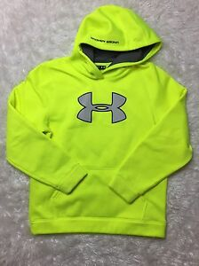 Preowned Youth Boys Under Armour Loose Pullover Hooded Sweatshirt Green XL