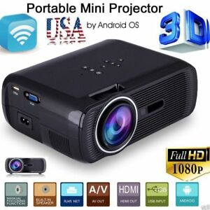 7000 Lumens Full HD 1080P LED LCD 3D VGA AV Theater Projector HDMI TV SD Home GO