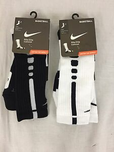 Lot of 2 pairs Men's Nike Elite Basketball Dri-Fit Crew Socks Size 8-12